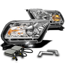 2010-2014 FORD MUSTANG LED CRYSTAL CHROME HEADLIGHT+WHITE SIGNAL DRL LAMP+6K HID