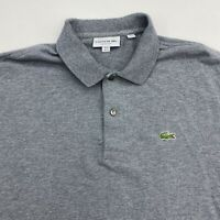 Lacoste Polo Shirt Men's Large Short Sleeve Gray Classic Fit Cotton Casual