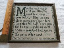 """Vintage Framed Needlepoint Irish Blessing Quote Cross-stitch W-13 1/2"""" by H 12"""""""