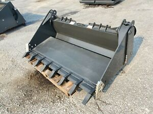 """NEW CID 72"""" Skid Steer 4-in-1 Combination Bucket Attachment EXTREME DUTY w TEETH"""