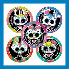 16 Sugar Skulls Day of the Dead Halloween Stickers Party Favors