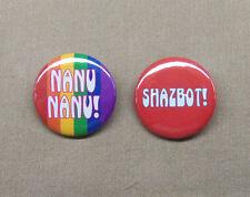 "Mork & Mindy Nanu Nanu & Shazbot! Buttons Set 1.25"" Robin Williams Alien Humor"