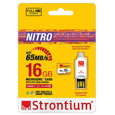 Strontium 16GB micro SD card 65MB/s microSDHC with OTG card reader USB