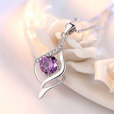 Real 925 Silver Amethyst Crystal Pendant Necklace Elegant Women Lady Jewelry