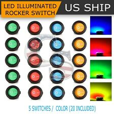 20PCS Led Dot Light 12V Car Auto Boat Round Rocker ON/OFF Toggle SPST Switch New