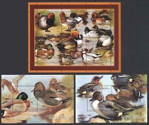 Guinea Bissau 2001 MNH 2MS+1SS, Northern pintail, Mallard, Water Birds, Duck