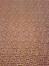 Hermes Boysenberry Upholstery Fabric, Square Spirals, Purple and Tan