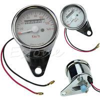 New Universal Motorcycle LED Light Dual Odometer Speedometer Gauge Speed Meter