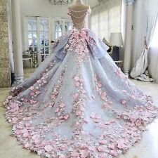 2017 Flower Bows Applique Wedding Dress Bridal Gown Custom Plus Size 6 8 10 12 +