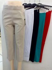 Damen  Schluphosen 7/8 Stretch Caprihose in Rot Schwarz Grün Weiß, Grau Beige