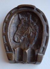 BRONZE BRASS HEAVY  HORSE  PROFILE  DEPICTED  IN HORSESHOE