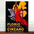 "Stunning Vintage Alcohol Poster Art ~ CANVAS PRINT 36x24"" ~ Cinzano Zebras"
