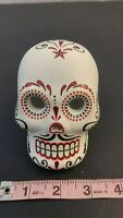 White Decorative Skull May Day of the Dead Death Day Candle Holder Black Red Art