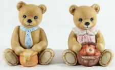 Homco Bear Figurines Set of 2 Girl Basket Apples Boy Honey Pot #1405