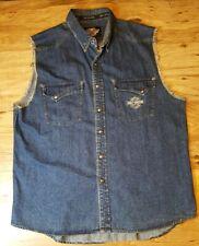Harley Davidson Mens XL Denim Vest Embroidered Logo Snap Button Front Eagle