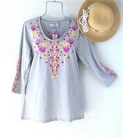 New~Gray Pink Yellow Embroidered Peasant Blouse Shirt Tee Boho Top~Size Medium M