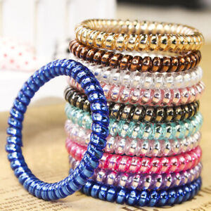 Spiral Coil No Tangle Telephone Cord Wire Plastic Elastic Ponytail Hair Band Tie