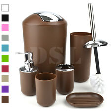 Black New Style 6pc Bathroom Accessory Set Tumbler Toilet Brush Lotion Soap Bin