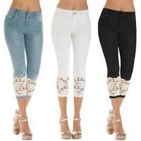 Womens Lace Skinny Capri Denim Pants Crop Trousers Skin Tight Jeans Stretch Slim