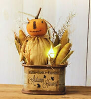 New Grubby Primitive Autumn Harvest Jack o Lantern Pumpkin DOLL CANDLE LIGHT Tin