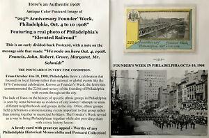 1908 PHILADELPHIA HISTORY FOUNDERS WEEK ELEVATED RAILROAD PHOTO POSTCARD 225th A
