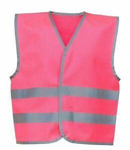 Child Hi Visibility YOKO Vest Waistcoat Pink Hi Viz Reflective Vests Kid
