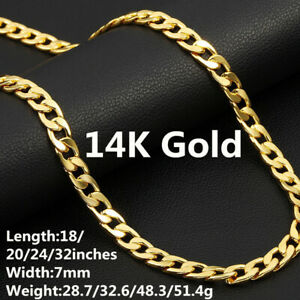 """14K Yellow Gold plated Cuban Chain Men's Jewelry Length18""""/20""""/24""""/32"""" Width7mm"""