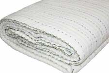 Solid White MultiColor Thread Cotton Kantha Quilt Queen Size Hand Stitched Quilt