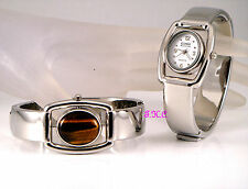 Rare Vintage Deco Genuine Tigers Eye Fob Ladies Flip Silver Spinner Bangle Watch