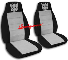 Decepticon Car Seat Covers in Silver & Black Velour Front Set