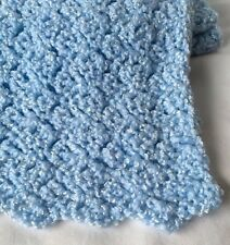 "Baby Receiving Knit Blanket Handmade Blue 30"" x 43"""