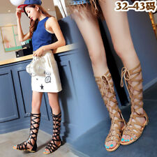 Womens Shoes Knee High Lace Up Gladiator Skinny Thong Flat Heel Roman Sandals