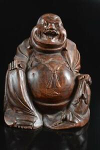 #5414: Japanese Wooden HOTEI STATUE Ornament Figurines Okimono Buddhist art