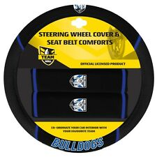 84038 CANTERBURY BULLDOGS NRL CAR STEERING WHEEL COVER & SEAT BELT COMFORTS PADS