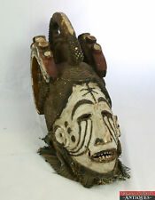 Old Tribal Hand Carved Wooden Igbo Nigeria Coiffure Maiden Spirit Dance Mask L6X
