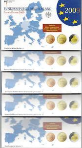 KMS, Kursmünzensätze 2009 aus Deutschland, spiegelglanz, PP, original, kpl ADFGJ