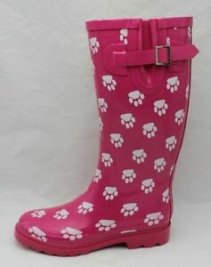 womans Rain Boots - MST-7093 Lady Rubber Rain Boot fuschia with white foot print