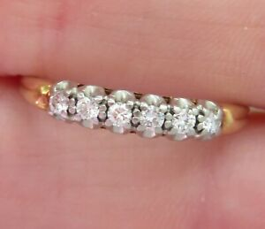 14K LUCK STAMP ANTIQUE VINTAGE VS DIAMOND ETERNITY WEDDING ANNIVERSARY RING BAND