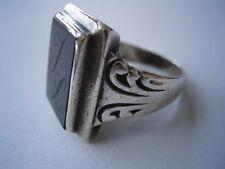 Wunderschöner Art Deco Herren Ring aus 835 Silber und Onyx - Stein Initialen JL
