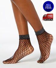 Inc International Concepts Shimmer Fishnet Ankle Socks Black - NWT