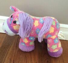 "Dan Dee Girls Pony Pink Flower Horse Soft Plush Stuffed Animal Size 13"" EUC"