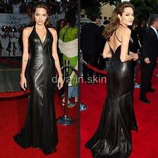 SEXY LAMBSKIN LEATHER HOBBLE MERMAID EVENING GOWN COCKTAIL WEDDING DRESS CUIR