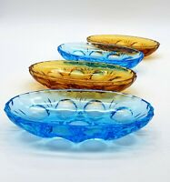 Art Deco 1920's coloured glass nuts/snacks dishes - set of 4 - Lovely condition