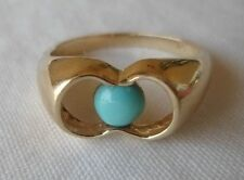 Vintage 14K Yellow Gold Floating Turquoise Ring - 4.1 grams, Size 6.25
