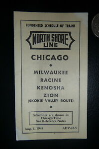 1948 8/1 North Shore Line railroad Electric cond schedule Skokie Valley small