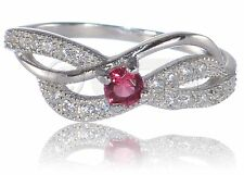 Ruby Red Infinity Celtic Round Cut Layered Clear CZ Genuine Sterling Silver Ring