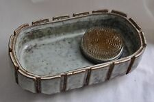 Kenzan Ikebana Vase Pottery Oval Boat Pin Frog Needle Flower Arrangement Brass