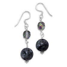 Sterling Silver Crystal and Labradorite Bead Earrings