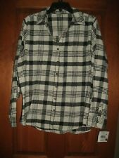 Fall Creek Flannel Shirt women's sz 1X Black & off white with silver thread NEW
