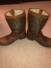 Ash Trash Cognac Brown Distressed Leather Studded Engineer Boots 38